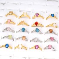 Кольца с кристаллами, цинковый сплав, с Кристаллы, Другое покрытие, Женский & граненый, Много цветов для выбора, не содержит свинец и кадмий, 18x22x8mm-21x25x8mm, размер:5-8.5, продается сумка