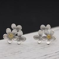 Серебро 925 пробы Сережка-гвоздик, с Пластиковые вилки для ухи, Форма цветка, Другое покрытие, двухцветный, 13x13mm, продается Пара