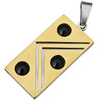 акриловые кулоны, нержавеющая сталь, с Акрил, Прямоугольная форма, Другое покрытие, двухцветный, 18x39x4mm, отверстие:Приблизительно 5x8mm, продается PC