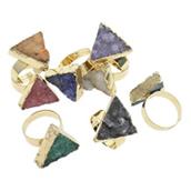 Ледниковый кварц-агат Открыть палец кольцо, с цинковый сплав, плакирован золотом, druzy стиль & разнообразный, 18x20x26-20x23x28mm, размер:7.5, 5ПК/сумка, продается сумка