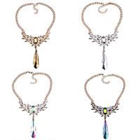 Ожерелье из кристаллов, цинковый сплав, с Кристаллы, с 2.7Inch наполнитель цепи, плакирован золотом, Снаряженная цепь & Женский & граненый & со стразами, Много цветов для выбора, не содержит никель, свинец, 130mm, Продан через Приблизительно 18.1 дюймовый Strand