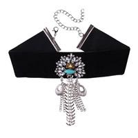 Ожерелье Мода Choker, бархатная лента, с Кристаллы & цинковый сплав, с 4.7Inch наполнитель цепи, Платиновое покрытие платиновым цвет, Женский & граненый, не содержит никель, свинец, 100mm, Продан через Приблизительно 12.9 дюймовый Strand