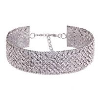 Ожерелье Мода Choker, цинковый сплав, с 3.9Inch наполнитель цепи, Платиновое покрытие платиновым цвет, Женский & со стразами, не содержит никель, свинец, 30mm, Продан через Приблизительно 11 дюймовый Strand