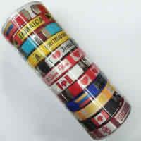 Полиэстер браслет-манжеты, с Пластиковое ведро & канифоль, Связанный вручную, с письмо узором & разнообразный, 10mm, внутренний диаметр:Приблизительно 60mm, длина:Приблизительно 7 дюймовый, 12ПК/Box, продается Box
