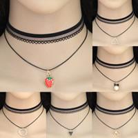 Ожерелье Мода Choker, цинковый сплав, с Кружево, черный, 300x8mm-300x22mm, Продан через Приблизительно 11.8 дюймовый Strand