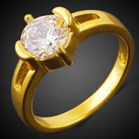 Кубик циркония в латуни, Латунь, 18K золотым напылением, Женский & с кубическим цирконием, не содержит никель, свинец, 3mm, размер:7.5, продается PC