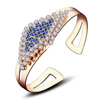 Латунь браслет-манжеты, плакированный настоящим золотом, инкрустированное микро кубического циркония & Женский, не содержит свинец и кадмий, 70x48mm, внутренний диаметр:Приблизительно 60mm, длина:Приблизительно 7 дюймовый, продается PC