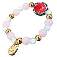 розовый кварц браслет, с клей & Царский джаспер & Морской опал & нержавеющая сталь, Замок, плакирован золотом, браслет-оберег & Женский, 9x18mm, 10mm, 25x19mm, Продан через Приблизительно 7 дюймовый Strand