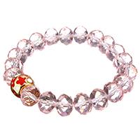 Кристалл браслеты, Кристаллы, с нержавеющая сталь, плакирован золотом, Женский & эмаль & граненый, 11mm, 8x10mm, Продан через Приблизительно 6 дюймовый Strand