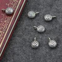 Подвески из настоящего балийского серебра, Таиланд, Плоская круглая форма, различные модели для выбора, 10x15mm, отверстие:Приблизительно 3mm, продается PC