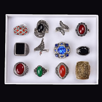 Natural Gemstone Finger Ring Zinc Alloy with paper box & Gemstone & Crystal plated faceted & with rhinestone & mixed lead & cadmium free 16-19mm US Ring Sold By Box