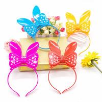 пластик Повязка для волос, Бантик, для детей & LED, Много цветов для выбора, 210x120mm, 3ПК/сумка, продается сумка