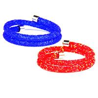 Трубка браслет, канифоль, с Кристаллы & цинковый сплав, Платиновое покрытие платиновым цвет, Женский, Много цветов для выбора, внутренний диаметр:Приблизительно 70mm, длина:Приблизительно 15.7 дюймовый, продается PC