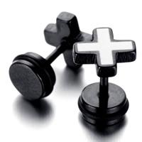 титан Сережка-гвоздик, Kресты, черный покрытием, эмаль, 9x10mm, продается Пара