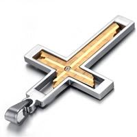 титан подвески, Kресты, Другое покрытие, со стразами & двухцветный, 36x64mm, отверстие:Приблизительно 3-5mm, продается PC