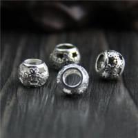 Бусины Европейская стиль из серебра 925 пробы, Серебро 925 пробы, Цилиндрическая форма, различные материалы для выбора & отверстие, 7.50x7.50mm, отверстие:Приблизительно 4mm, 30ПК/Лот, продается Лот
