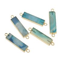 кружевной агат коннектор, с цинковый сплав, Прямоугольная форма, плакирован золотом, 1/1 петля, голубой, 45x10x5mm, отверстие:Приблизительно 2mm, продается PC
