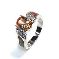 Кубический циркон микро проложить кольцо-латунь, Латунь, покрытый платиной, инкрустированное микро кубического циркония & Женский, не содержит никель, свинец, 7x9mm, размер:7, 5ПК/Лот, продается Лот