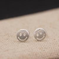 Серебро 925 пробы Сережка-гвоздик, с Пластиковые вилки для ухи, плакирован серебром, с письмо узором, 6x6mm, продается Пара
