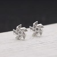 Серебро 925 пробы Сережка-гвоздик, Форма цветка, плакирован серебром, 10mm, продается Пара