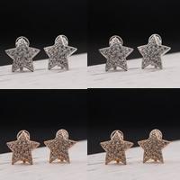 цинковый сплав Звезда, Другое покрытие, со стразами, Много цветов для выбора, не содержит свинец и кадмий, 21x21mm, продается Пара