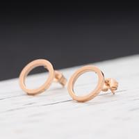 титан Сережка-гвоздик, плакированный цветом розового золота, 12x12mm, продается Пара