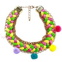 Модные ожерелья, цинковый сплав, с Трип & Хлопковый шнурок, с 3.1Inch наполнитель цепи, плакирован золотом, плетеный & Снаряженная цепь & твист овал & Женский, не содержит никель, свинец, 55mm, Продан через Приблизительно 17.7 дюймовый Strand