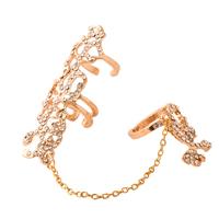 цинковый сплав Двухместный кисточкой палец кольцо, плакирован золотом, Женский & со стразами, не содержит никель, свинец, 60mm, 80mm, размер:8, продается PC