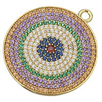 Цирконий Micro Pave латунь подвеска, Латунь, Плоская круглая форма, плакированный настоящим золотом, инкрустированное микро кубического циркония, не содержит никель, свинец, 30x34x2.50mm, отверстие:Приблизительно 2.5mm, 3ПК/Лот, продается Лот