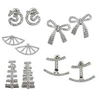 Латунь сережки, Другое покрытие, разные стили для выбора & инкрустированное микро кубического циркония & Женский, не содержит никель, свинец, продается Пара