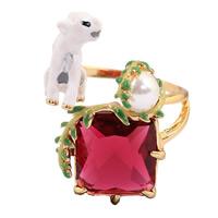Кольца с кристаллами, Латунь, с Кристаллы & Стеклянный жемчуг, Собака, плакирован золотом, Женский & граненый, не содержит свинец и кадмий, 19x24mm, размер:6-8, продается PC