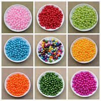 Бусины из пластика, пластик, Круглая, Много цветов для выбора, 6mm, отверстие:Приблизительно 1.8mm, Приблизительно 3500ПК/сумка, продается сумка