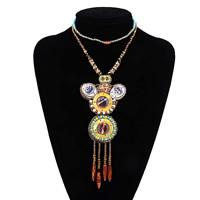 Ожерелья из полимерной смолы, канифоль, с Искусственная кожа & Стеклянный бисер, Женский & двунитевая, 145mm, Продан через Приблизительно 20.8 дюймовый Strand