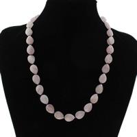 розовый кварц Ожерелье, латунь Замок-карабин, Каплевидная форма, натуральный, Женский & граненый, 10x14x8mm, Продан через Приблизительно 19.5 дюймовый Strand