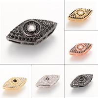 Кубический цирконий микро проложить латунные бусины, Латунь, Лошадиный глаз, Другое покрытие, инкрустированное микро кубического циркония & без Тролль, Много цветов для выбора, не содержит свинец и кадмий, 20.9x5.4mm, отверстие:Приблизительно 2-3mm, 5ПК/сумка, продается сумка
