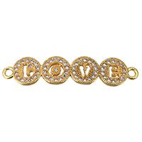Цирконий Micro Pave Латунный разъем, Латунь, Слово, слова любви, плакированный настоящим золотом, инкрустированное микро кубического циркония & 1/1 петля, не содержит никель, свинец, 35x8x2mm, отверстие:Приблизительно 2mm, 10ПК/Лот, продается Лот