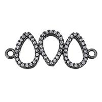 Цирконий Micro Pave Латунный разъем, Латунь, Каплевидная форма, черный свнец, инкрустированное микро кубического циркония & 1/1 петля, не содержит никель, свинец, 27x11.50x2.50mm, отверстие:Приблизительно 1.5mm, 10ПК/Лот, продается Лот