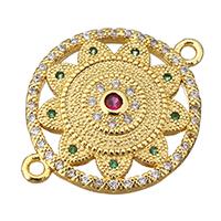 Цирконий Micro Pave Латунный разъем, Латунь, Форма цветка, плакированный настоящим золотом, инкрустированное микро кубического циркония & 1/1 петля, не содержит никель, свинец, 27x20.50x3mm, отверстие:Приблизительно 2mm, 10ПК/Лот, продается Лот