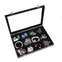 Бархатная коробочка для кольца, Бархат, с Стеклянный & деревянный & цинковый сплав, Прямоугольная форма, Платиновое покрытие платиновым цвет, 12 ячеек, черный, 350x240x50mm, продается PC