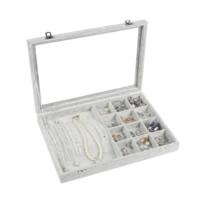 Бархатная коробочка для кольца, Бархат, с Стеклянный & деревянный & цинковый сплав, Прямоугольная форма, Платиновое покрытие платиновым цвет, 350x240x50mm, продается PC