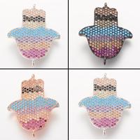 Цирконий Micro Pave Латунный разъем, Латунь, Хамса, Другое покрытие, инкрустированное микро кубического циркония & 1/1 петля, Много цветов для выбора, не содержит свинец и кадмий, 27.8x21.7mm, отверстие:Приблизительно 2-3mm, 5ПК/сумка, продается сумка