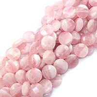 Природные Бисер розовый кварц, Плоская круглая форма, натуральный, разный размер для выбора & граненый, отверстие:Приблизительно 0.5-1mm, Продан через Приблизительно 16 дюймовый Strand