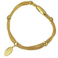 Трубка браслет, нержавеющая сталь, Листок, плакирован золотом, браслет-оберег & Сетка цепь & Женский, 8.5x16mm, 3mm, 16x7mm, Продан через Приблизительно 8 дюймовый Strand