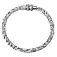 Трубка браслет, нержавеющая сталь, Мужская & Сетка цепь, оригинальный цвет, 20x10x11mm, 6mm, Продан через Приблизительно 9 дюймовый Strand