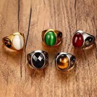 Пальцевидное Кольцо Титановой Стали, титан, с Полудрагоценный камень, Другое покрытие, Тай Цзи & различные материалы для выбора & разный размер для выбора & Женский & со стразами & чернеют, 19.5mm, продается PC
