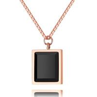 Ожерелья из полимерной смолы, титан, с канифоль, Прямоугольная форма, плакированный цветом розового золота, Овальный цепь & Женский, 500mm, Продан через Приблизительно 19.5 дюймовый Strand