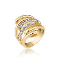 цинковый сплав Манжеты палец кольцо, плакирован золотом, различный внутренний диаметр по выбору & Женский & со стразами, не содержит свинец и кадмий, 21x24mm, продается PC