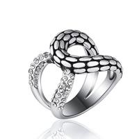 Модные кольца, цинковый сплав, Платиновое покрытие платиновым цвет, различный внутренний диаметр по выбору & Женский & эмаль & со стразами, не содержит свинец и кадмий, 19x18mm, продается PC
