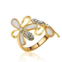цинковый сплав Манжеты палец кольцо, плакирован золотом, различный внутренний диаметр по выбору & Женский & эмаль & со стразами, не содержит свинец и кадмий, 21x25mm, продается PC