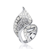 цинковый сплав Манжеты палец кольцо, Платиновое покрытие платиновым цвет, различный внутренний диаметр по выбору & Женский & эмаль & со стразами, не содержит свинец и кадмий, 20x37mm, продается PC
